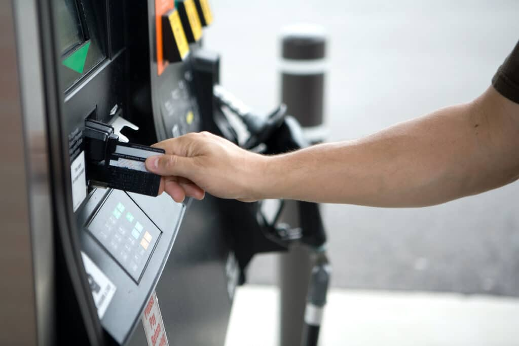 Fuel card being used at pump