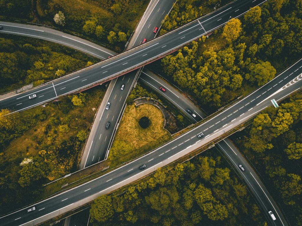 overhead shot of highway intersection