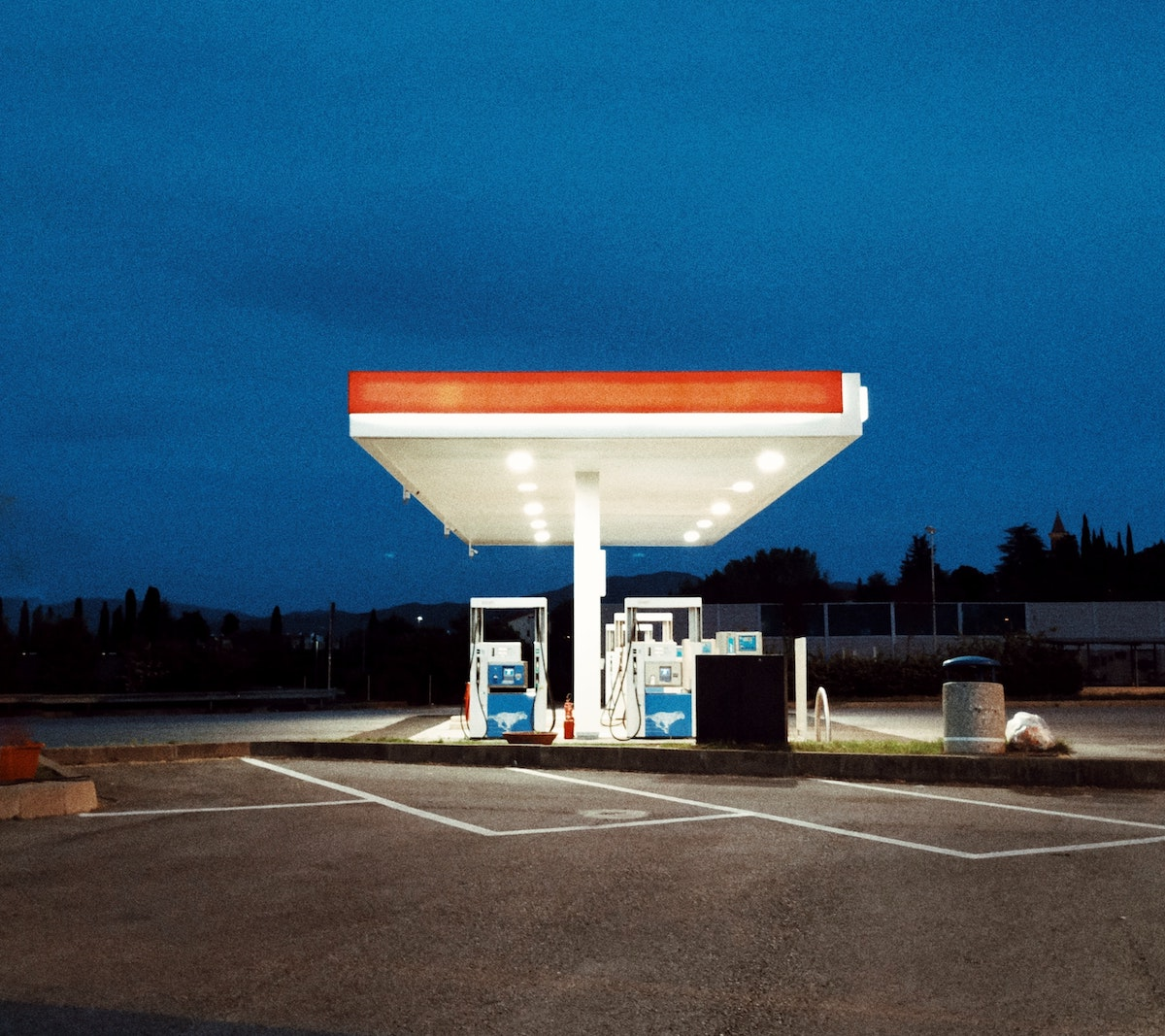 Gas station in early morning light