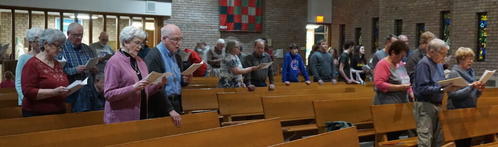 Congregation participating in service