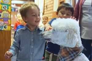Messiah Lutheran, preschool, young children, dog, poodle, visiting class