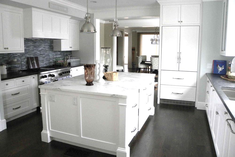 white custom kitchen cabinets