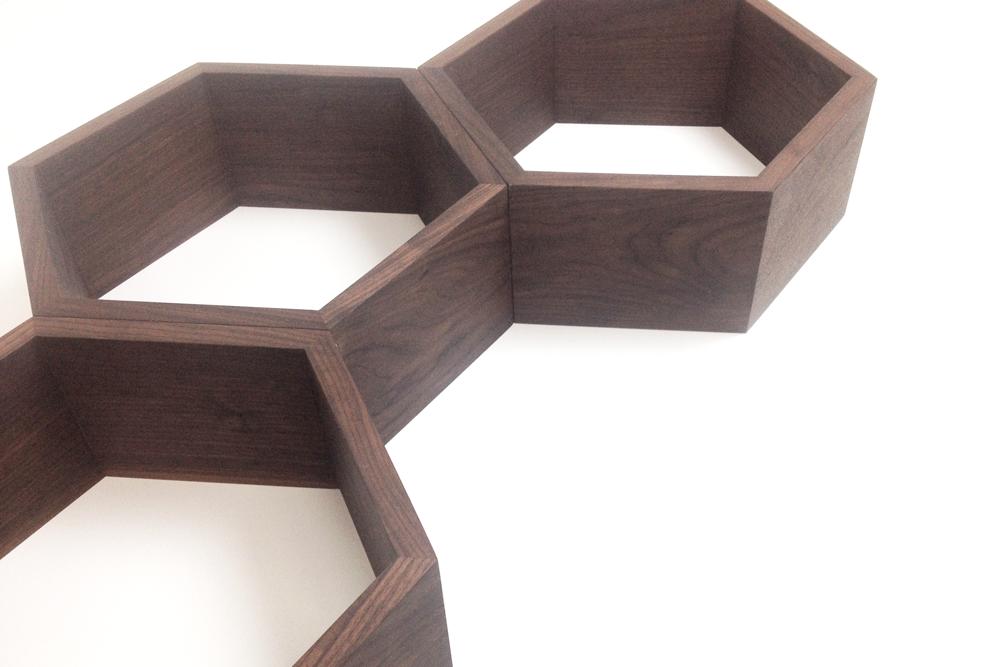 custom wooden walnut shelves