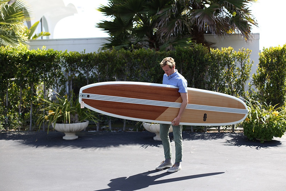 almond surfboard with wood inlay
