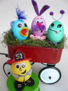 Easter eggs on a mini wagon