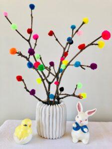 Colorful twig art