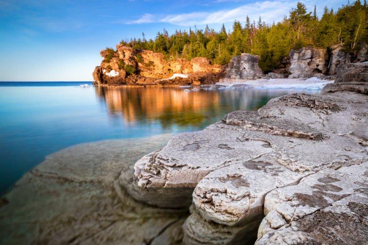 rocky shore in a quiet cove