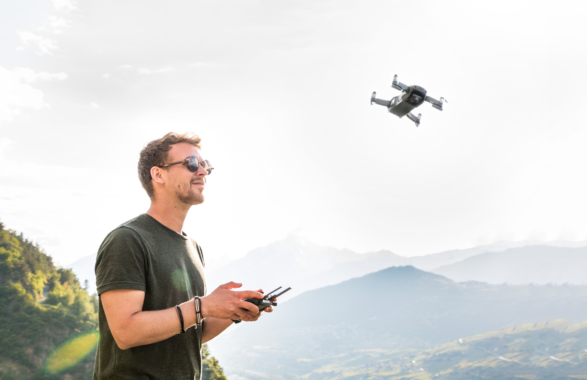 Man flying drone