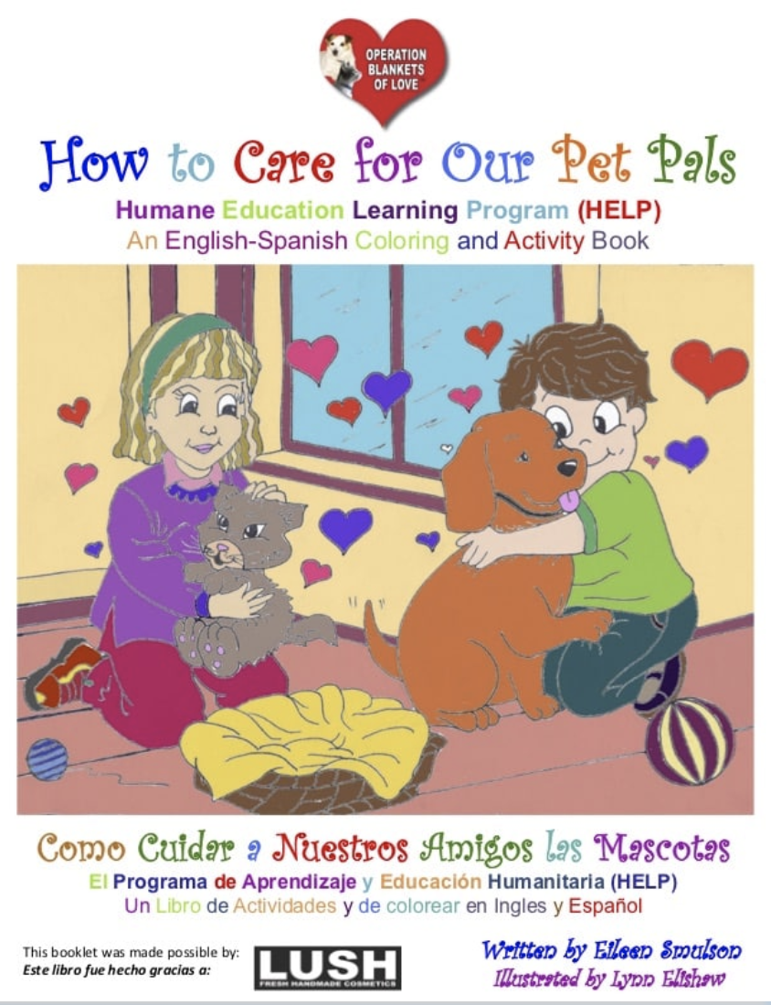 Coloring book for kids to teach them how to be kind to pets