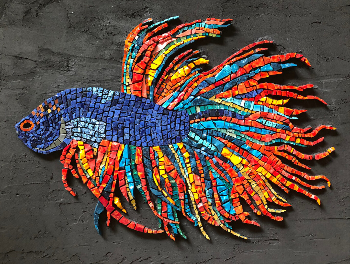 "<b>Betta Beauty</b><br>Materials: Smalti, gold smalti, iridized tile<br>Dimension: 33""W x 25½""H x 1""D<br>Price: $1,800"