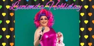 Lucinda Holliday posing as the Queen of Gay Pride