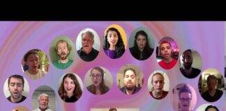 An image of the members of The Helios Ensemble singing