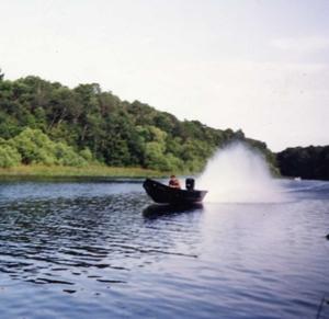 Roger Gunter pilots outlaw commercial fishing skiff