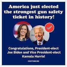 A congratulatory image for gun safety under President Biden