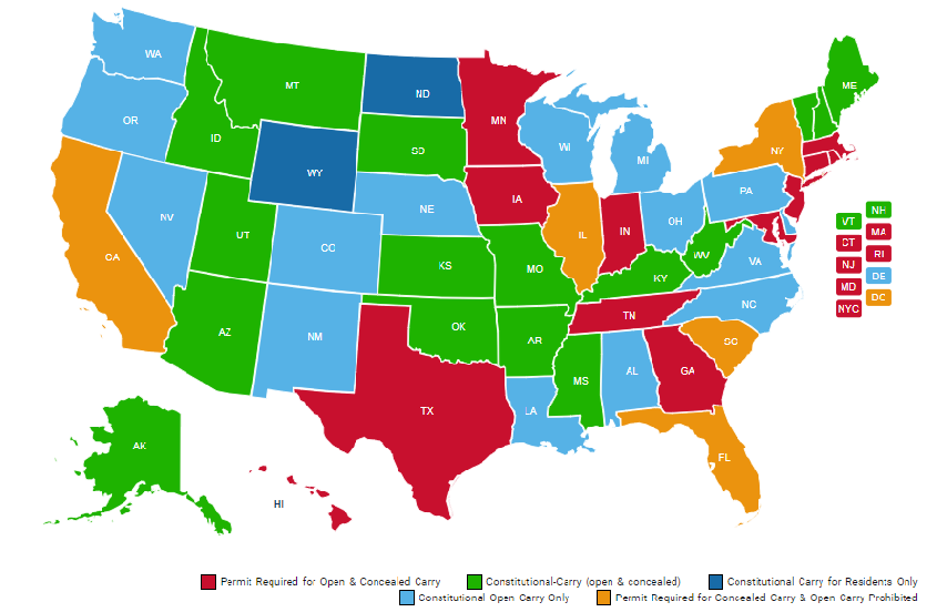 A map of the US detailing gun laws in each state
