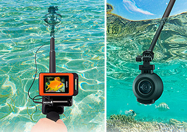 Casio Exilim FR100's underwater casing with antenna cable.