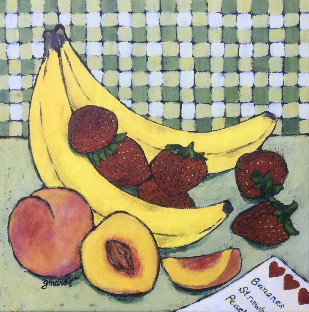 Original stylistic painting of fruit against a checked wall