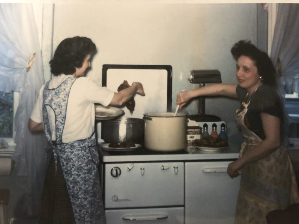 My great aunts making a family  traditional recipe.