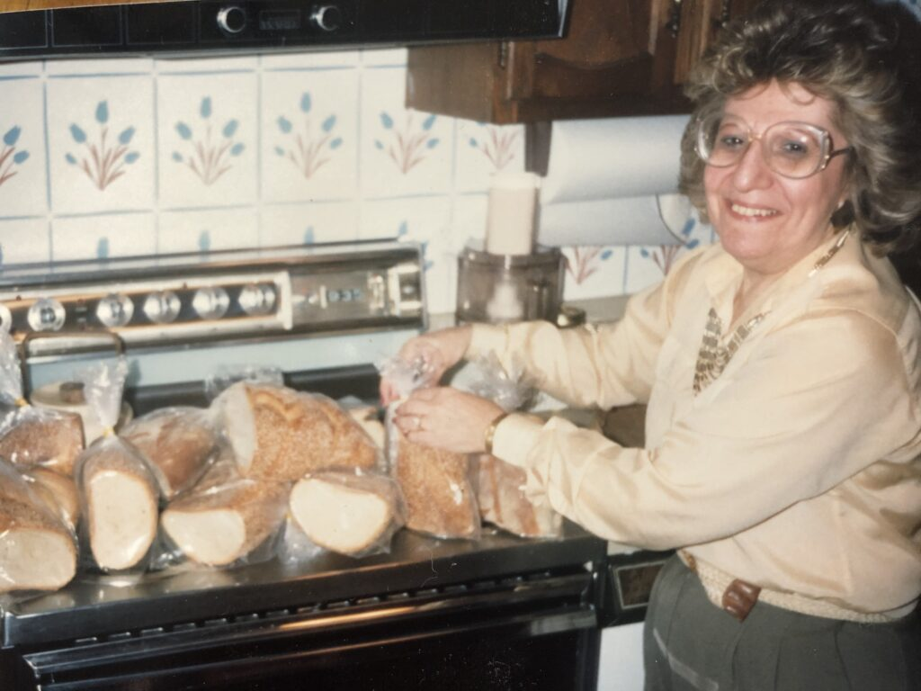 Mom packaging up a Giordano's bread supply for the freezer.