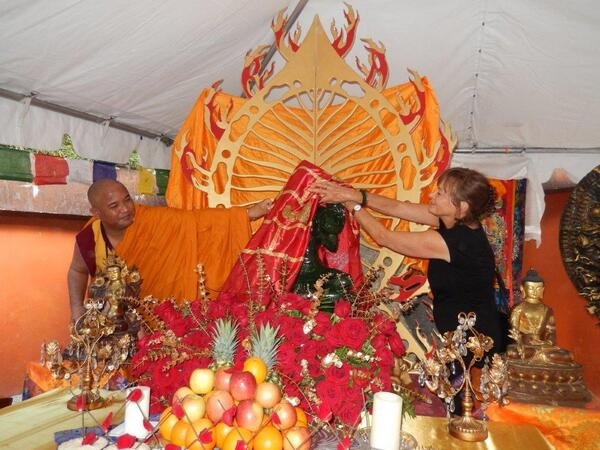 Green Tara unveiled for her first showing in USA via @JadeBuddhaPeace