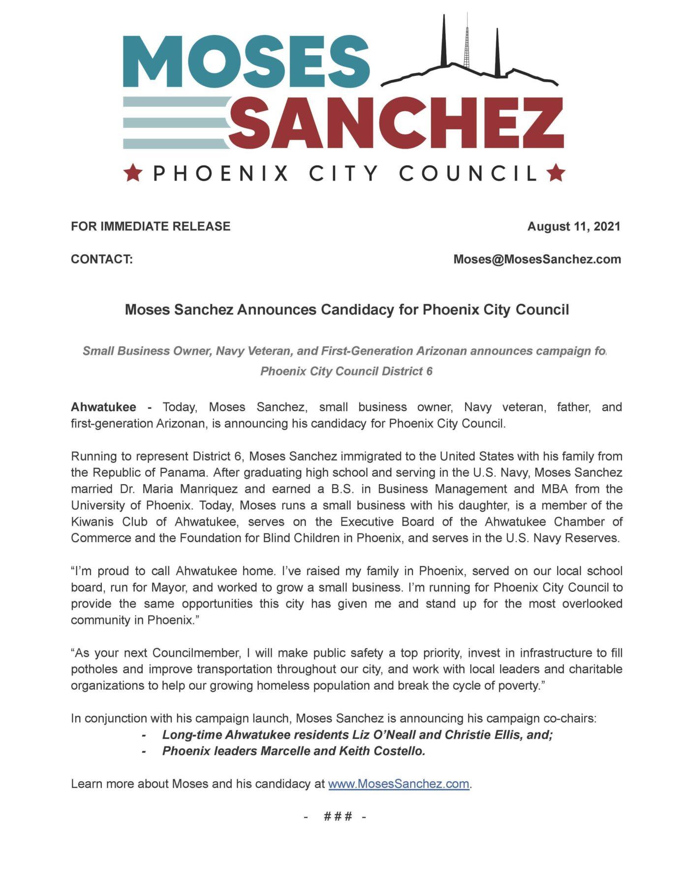 moses sanchez announces candidacy