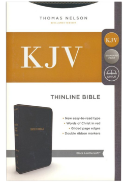 KJV Thinline Bible, Leathersoft – Black, Red letter