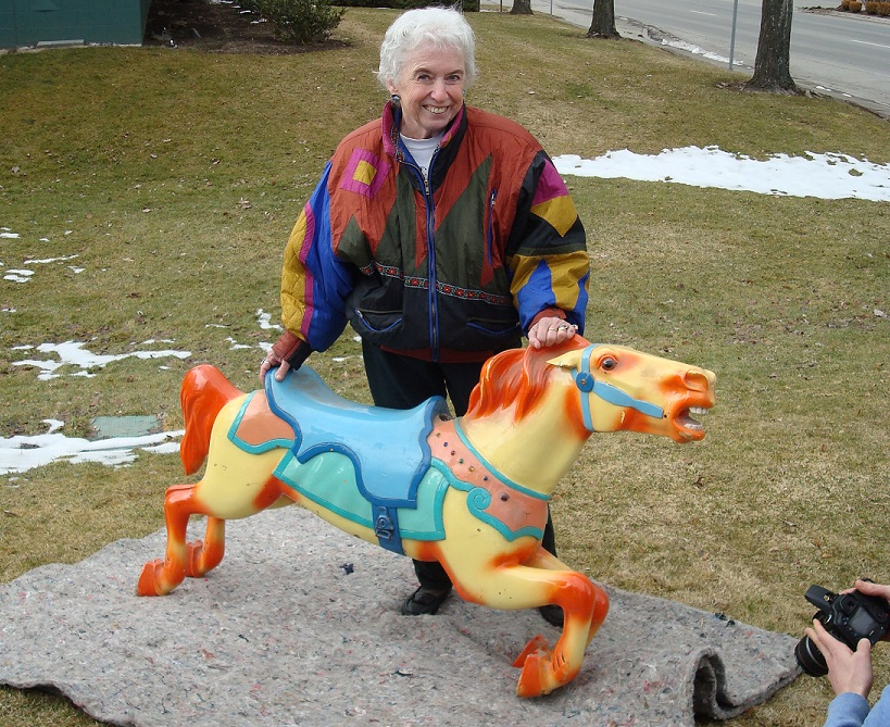 Carol Perron welcomes her hometown carousel home