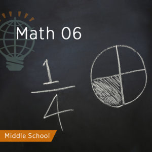 chalkboard with fraction and pie graph