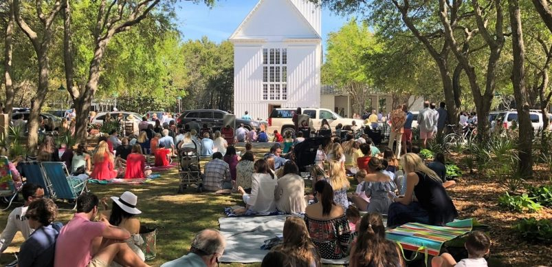 Crowd in front of The Chapel at Seaside