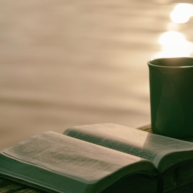 Holy Bible with coffee
