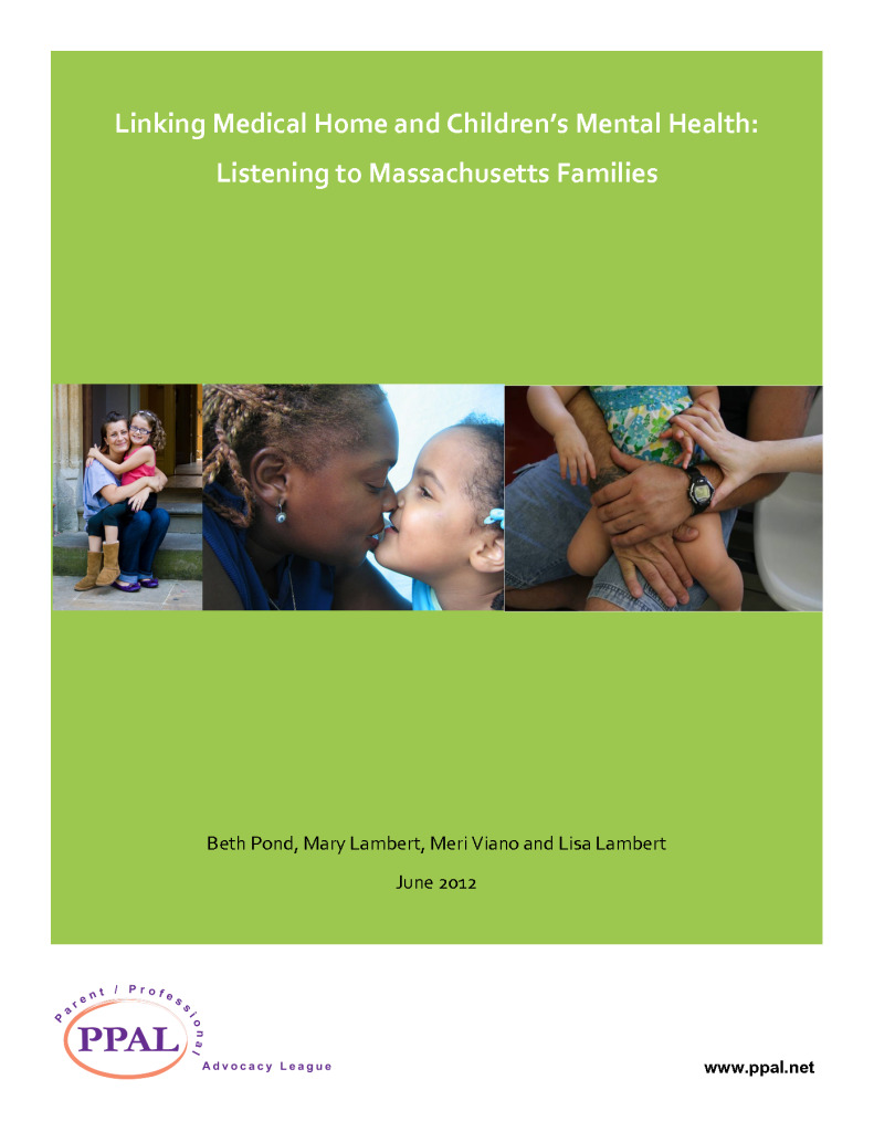 Linking Medical Home and Children's Mental Health: Listening to Massachusetts Families