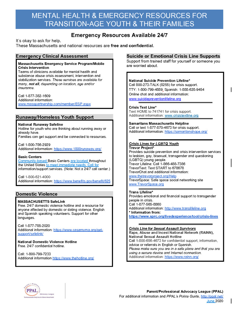 CRISIS Resource Sheet for Transition Age Youth