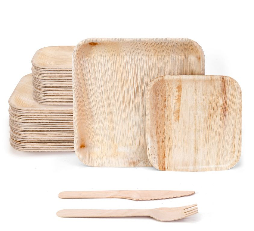 10″ and 7″ Square Palm Leaf Set with Wooden Cutlery