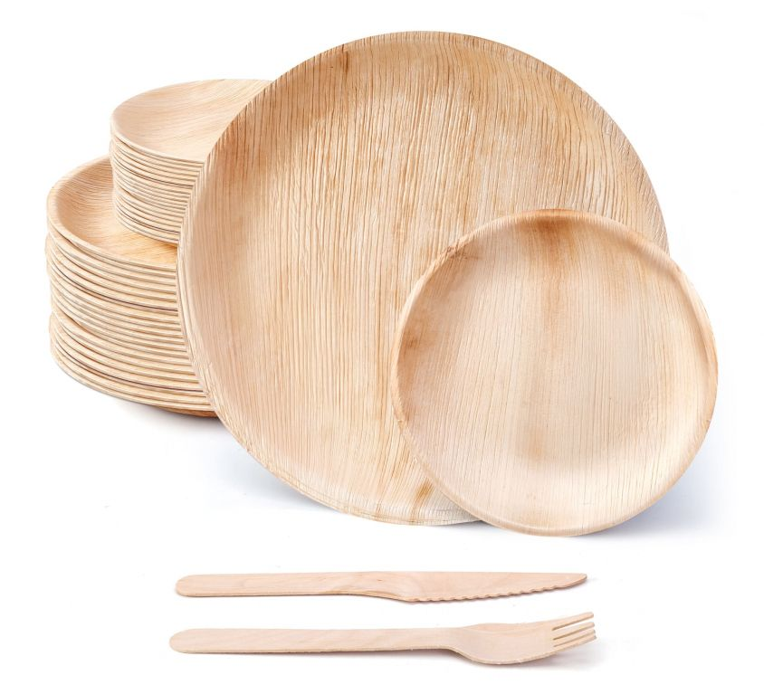 10″ and 7″ Round Palm Leaf Set with Wooden Cutlery