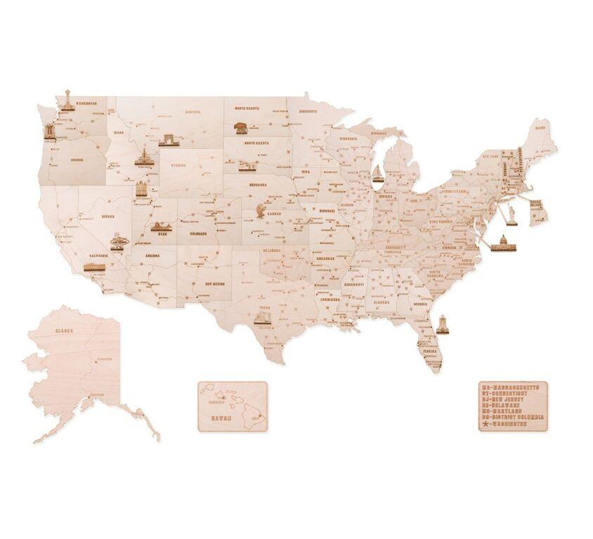 USA Wooden Map