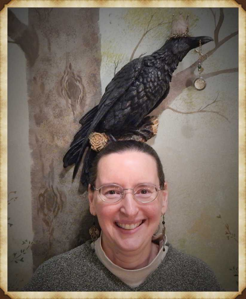 silly picture of Donna with a crow on her head