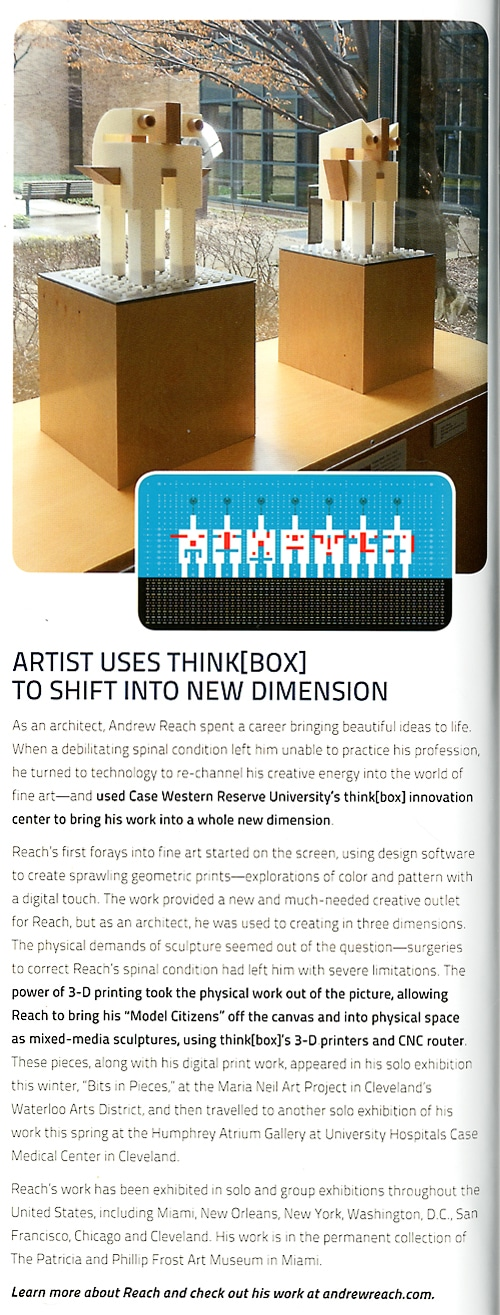 """Case Western Reserve University School of Engineering Annual Report """"Artist Uses ThinkBox To Shift Into New Dimension"""