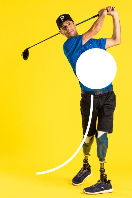 Mike, Golf extraordinaire hitting a golf ball