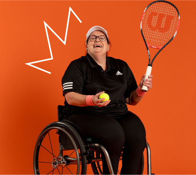 Emily, Life-long tennis player in her wheelchair playing tennis