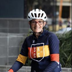 Carol Cooke wearing her bike riding gear