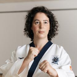Prue looking focused in her karate uniform