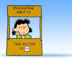"Lucy from Peanuts with ""the doctor is in sign"" indicating professional help in financial life planning."