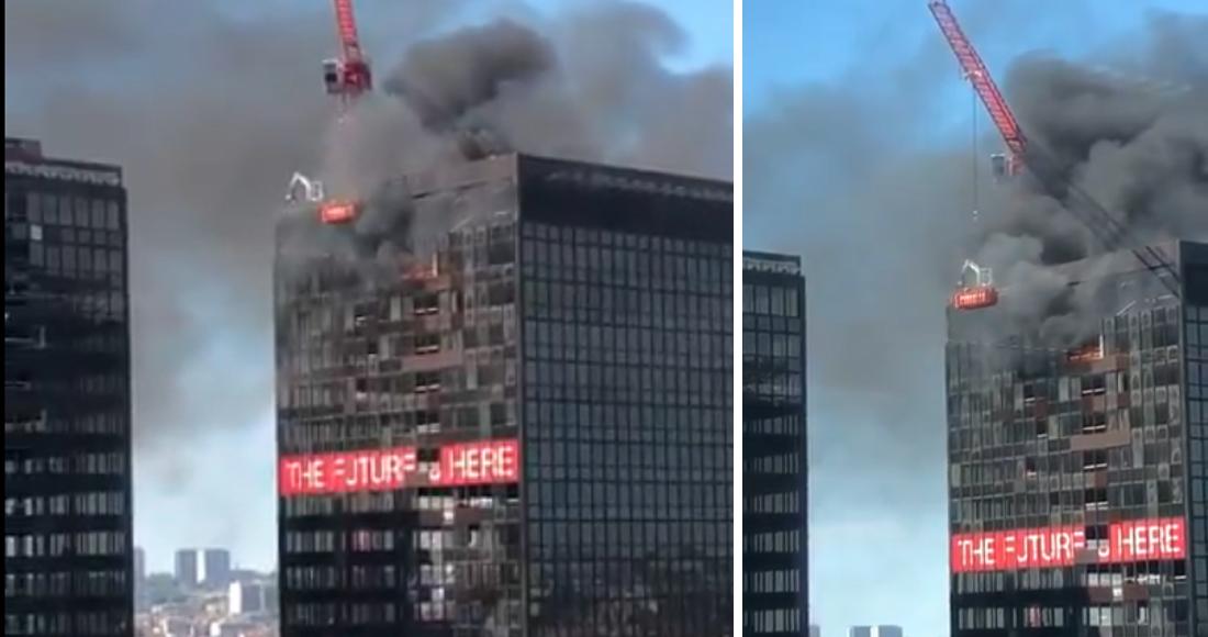Ahora se incendia la torre del World Trade Center en Bruselas, Bélgica