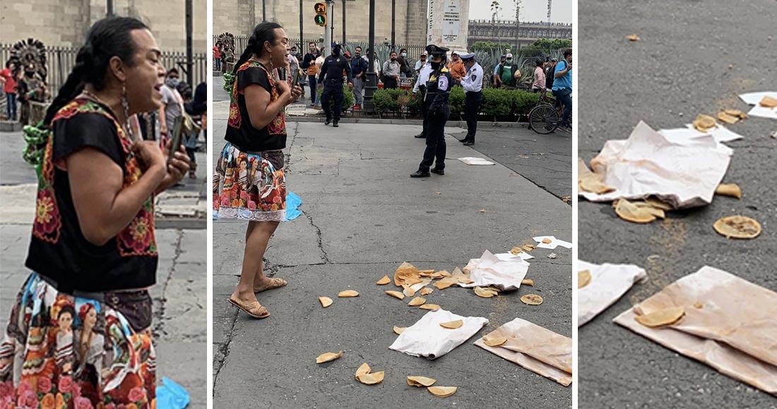 Ciudadanos ayudan a #LadyTacosDeCanasta a evitar que oficiales de la SSC-CDMX le confiscaran su bicicleta