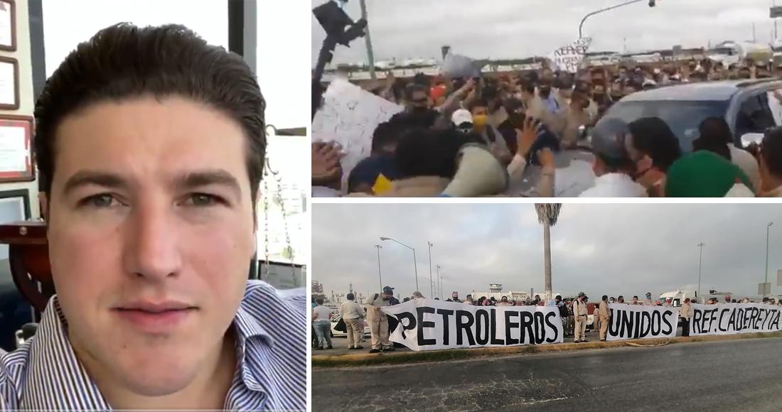 El senador Samuel García intenta clausurar la refinería de Cadereyta y es expulsado por los trabajadores