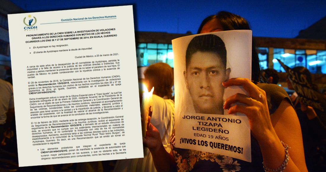 CNDH admite que en el caso Ayotzinapa fue ineficiente para dirigir recomendaciones a Sedena y otros