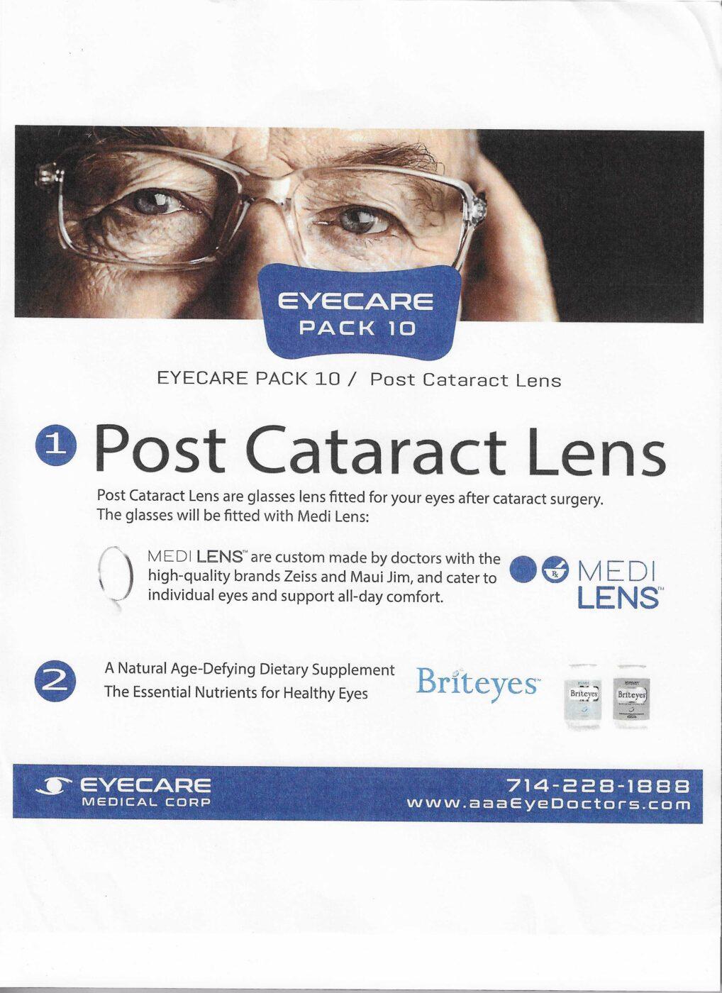 Post Cataract Lens
