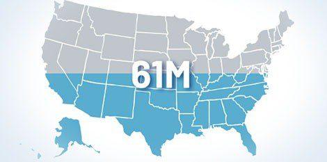 map 61 million usa