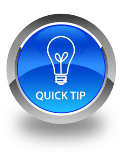 Quick tip icon with text on blue button