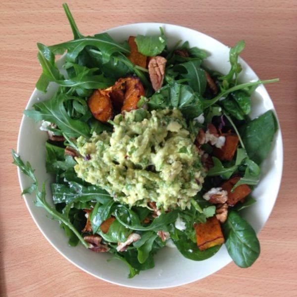 Roast pumpkin and guacamole Salad
